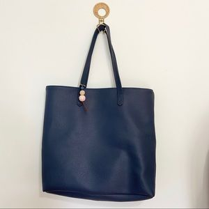 Navy Blue Vegan Leather Tote with Bauble Keychain